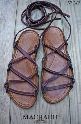 Sandal idea - loops are installed, but could change out the leather/ribbon. Hmm...