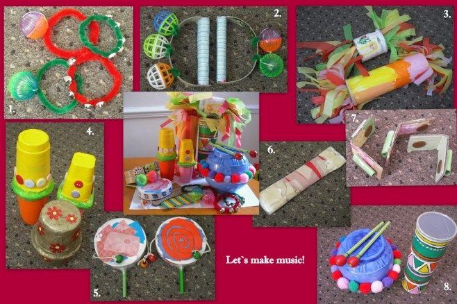 Homemade percussion instruments.  Shiffie would love these!  She LOVES to make noise and loves music.