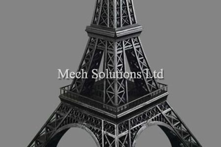 3D printing miniature model of Eiffel Tower printed with PLA and FDM technology, professional post processing, spray painting and polishing, located in Toronto GTA, Ontario Canada