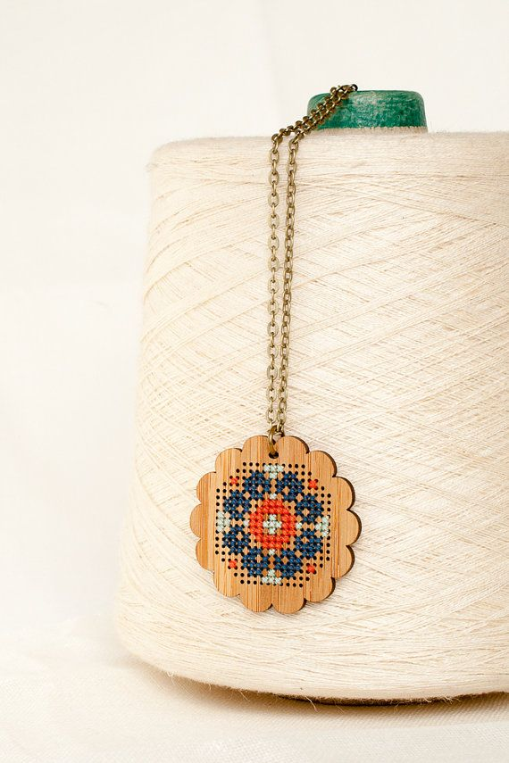 Cross Stitch Necklace DIY Kit Bamboo with by RedGateStitchery
