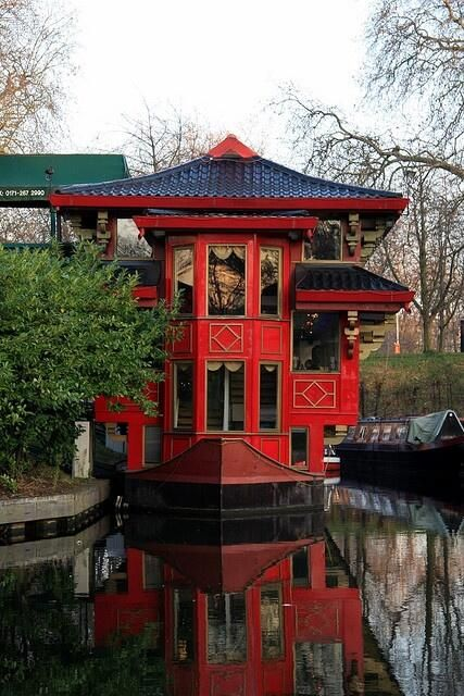 """Chinese houseboat restaurant in London. Whoa! I totally want to live here. As we learned from A Thousand Clowns, """"Anything is possible when you live above an abandoned Chinese restaurant,"""" and how much more would that be true if you lived in a Chinese restaurant houseboat?!"""