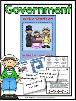 Branches of Government: Fun Game... Great for President's Day or any day!! Place the description into the correct branch of government.... This is a presidential themed game board!! In this game, students will tell the correct branch of government for