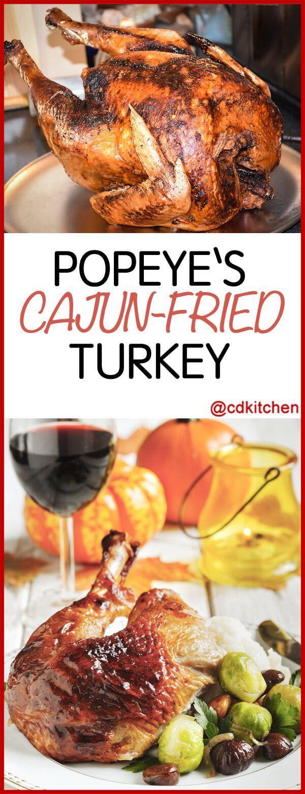 Copycat Popeye's Cajun Fried Turkey - Recipe is made with black pepper, whole turkey, peanut oil, kosher salt, garlic pepper, white pepper, cayenne pepper, onion powder, salt, butter | CDKitchen.com