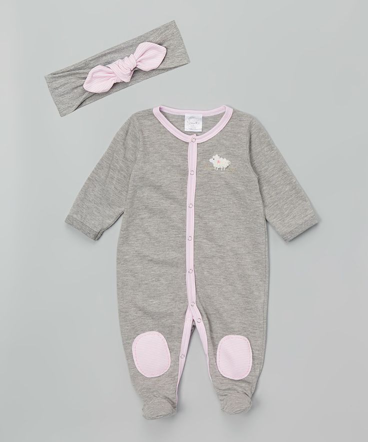 Another great find on #zulily! Victoria Kids Gray & Pink Lamb Footie & Headband by Victoria Kids #zulilyfinds
