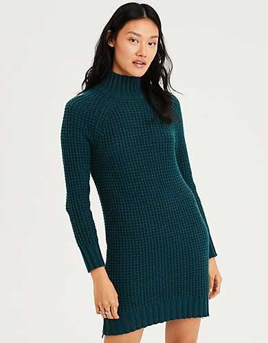 ec97133997 AE Waffle Mock Neck Sweater Dress -