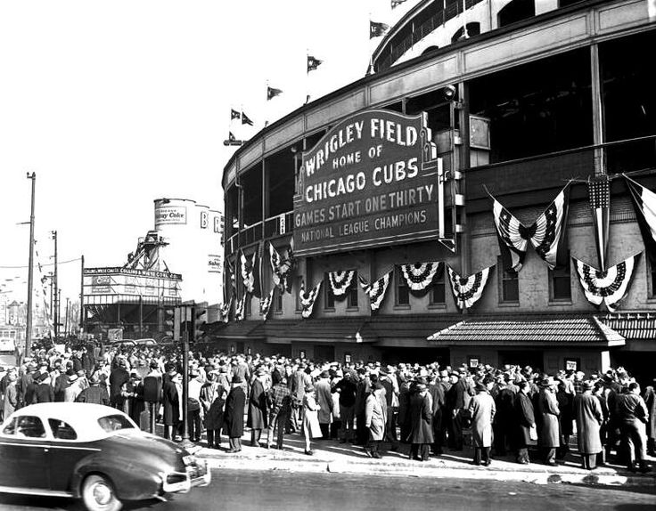 Here 1945 fans in Chicago buying World Series tickets at Wrigley for final 1945 Cubs vs Tigers game