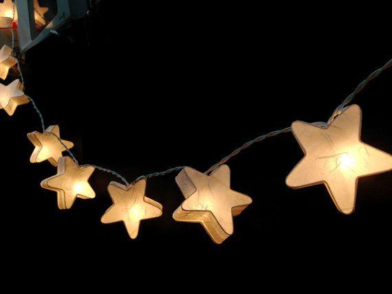 20 White Stars LANTERN Paper Handmade Fairy String by Umamiaoom