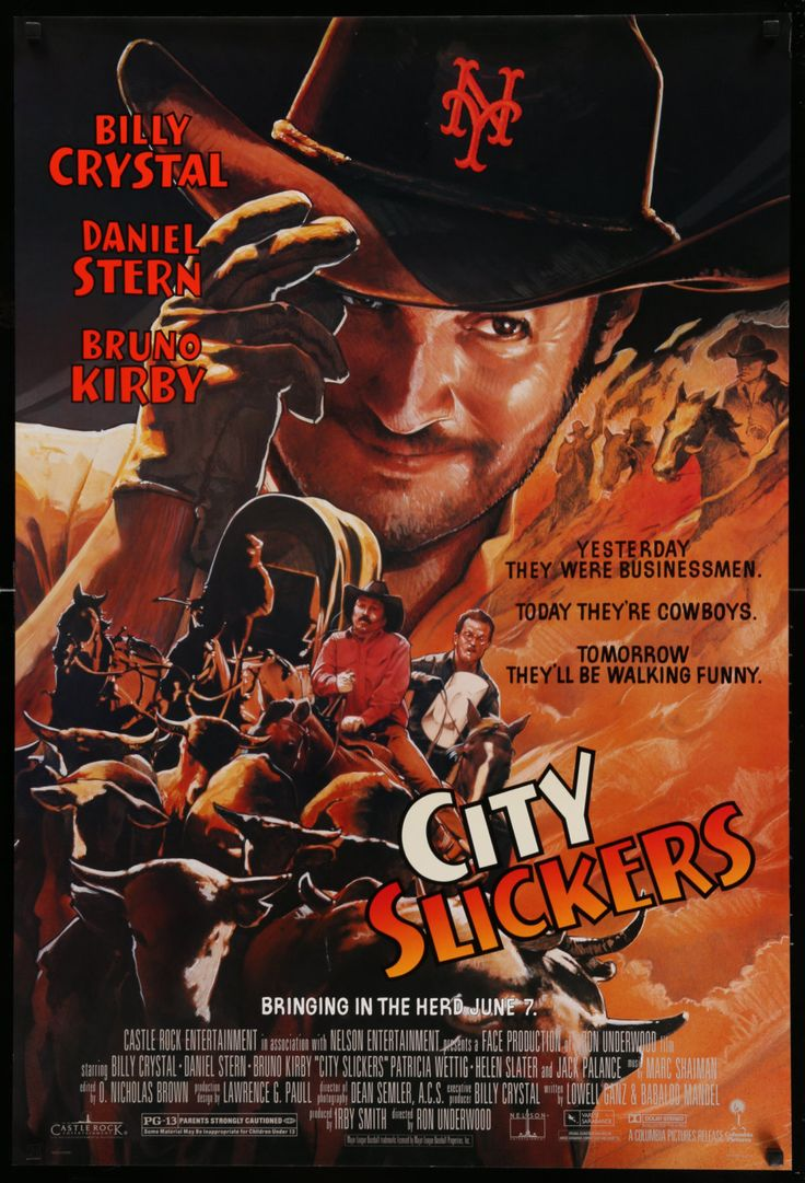"""City Slickers (1991) Vintage Advance One Sheet Movie Poster - 27""""x40"""" - FREE U.S. SHIPPING - Now for sale: a vintage, rolled, one-sheet movie poster from 1991 for the comedy City Slickers starring Billy Crystal, Daniel Stern, Bruno Kirby, Patricia Wettig, Helen Slater, and Jack Palance.  Ron Underwood directed the film.  John Alvin is the artist for the poster."""