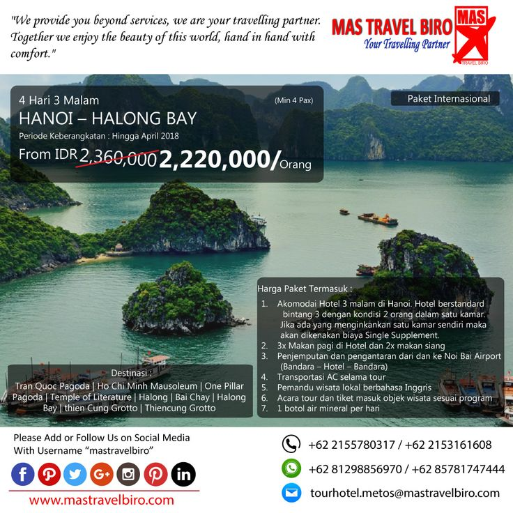 Paket tour ke Hanoi - Halong Bay Special 4 Hari 3 Malam, mulai dari harga Rp.2.220.000/Pax. Pesan sekarang di MAS Travel Biro 👇 Mas Travel Biro   (Harga tidak termasuk tiket pesawat)  #mastravelbiro #promotravel #travelagent #tourtravel #tourtravelmurah #travelservices