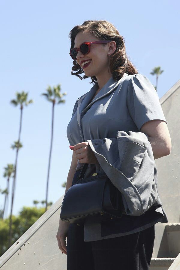 Hayley Atwell on set of Season 2 of Agent Carter