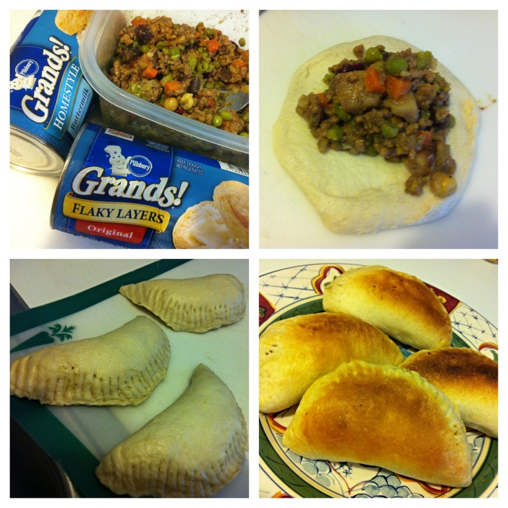 Easy empanadas...use Pillsbury biscuits fill with ground beef ...