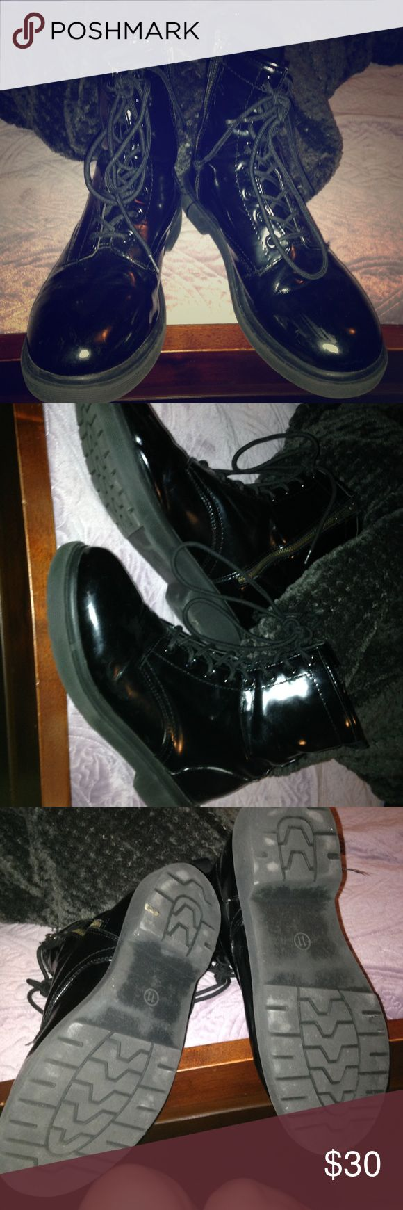 black combat boots doc martens look alikes size 11 in great used condition! Bought from target are really good quality, very smimilar to actual docs the feel and look, people always thought they were docs when I wore em! Dr. Martens Shoes Lace Up Boots