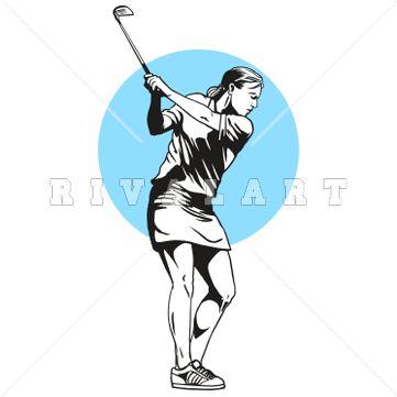 Woman Golfing Clipart
