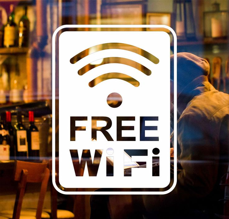 Free wifi window sign vinyl sticker for cafe shop salon pub bar restaurant