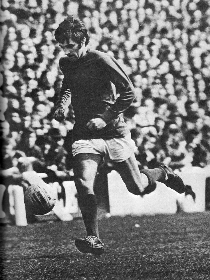 11th November 1967. Manchester United winger George Best attempting some ball juggling against Liverpool, at Anfield.