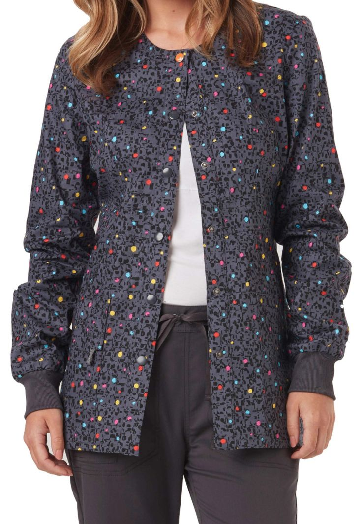 #nursinguniforms #medicalscrubs Code Happy So Speck-tacular Print Scrub Jackets With Certainty - So Speck-tacular - XS:… #uniforms #scrubs