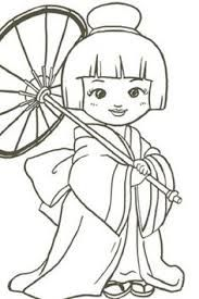 Resultado de imagem para desenhos de bonecas japonesas para colorir adulto