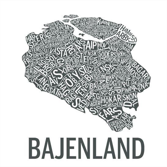 Print Bajenland i färgen grafitgrå