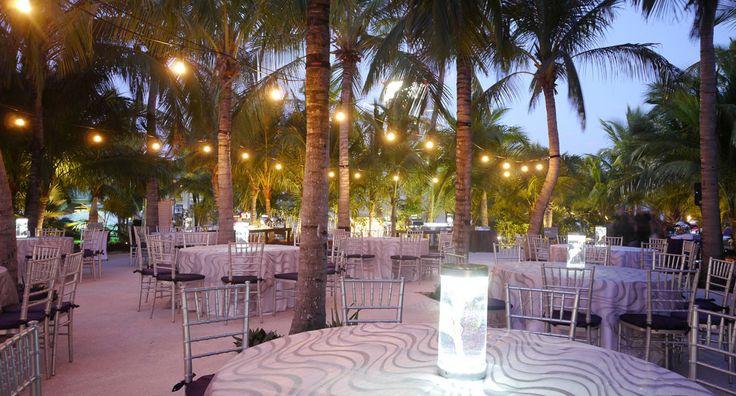 Wedding reception area at The Key Largo Lighthouse, destination wedding location.