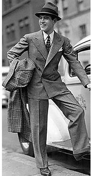 50s men fashion; suits were still in style and worn with fedora hats
