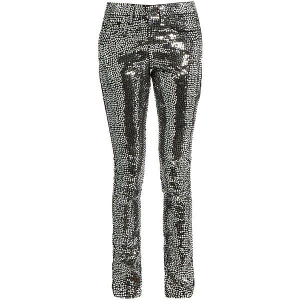 Saint Laurent Sequin-embellished skinny jeans (£1,170) ❤ liked on Polyvore featuring jeans, pants, silver, skinny leg jeans, skinny jeans, skinny fit jeans, cuffed jeans and cuff jeans