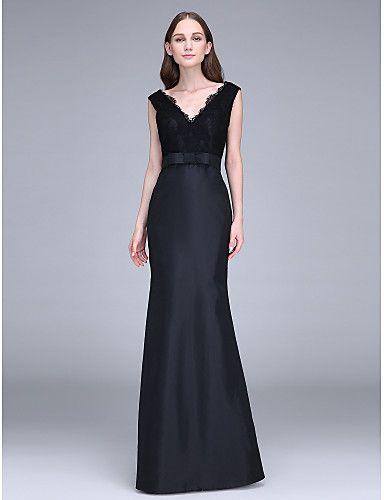 Mermaid / Trumpet Straps Floor Length Lace Taffeta Bridesmaid Dress with Lace Sash / Ribbon by LAN TING BRIDE®