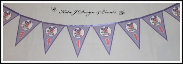 Pennant Banner Bunting #Abby #Cadabby #Sesame #Street #Pink #Purple #Girls #Birthday #Bunting #Party #Decorations #Ideas #Banners #Cupcakes #WallDisplay #PopTop #JuiceLabels #PartyBags #Invites #KatieJDesignAndEvents #Personalised #Creative