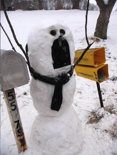 Snowman mailbox for today's snow goal.