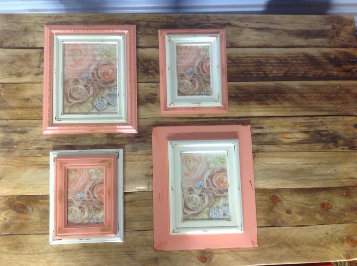 Photo frames stacked, painted and distressed by Touchwood Creations set of 4. Peach & cream