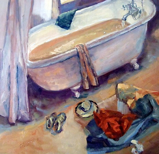 June 8, 2013 Another Claw Footed Bathtub Painting Done at The Trailing Yew! | Plein Aire in Maine