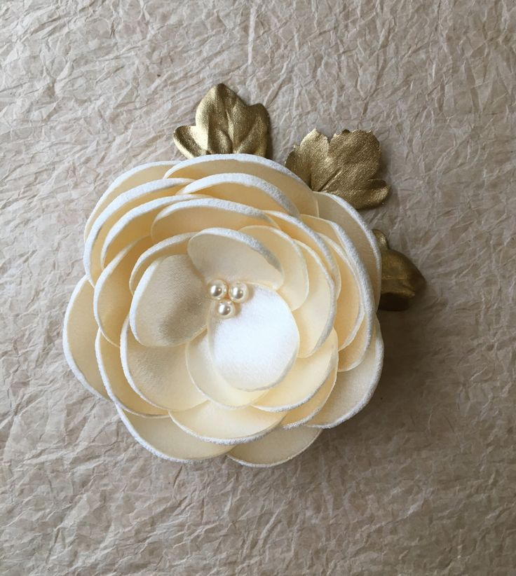 Cream silk flower hair clip, fabric flower with gold leaf, bridal hair flower, bridesmaid dress brooch, Wedding flowers, fabric flowers by ZBaccessory on Etsy