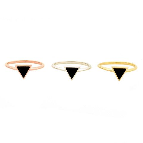 Onyx triangle ring - EVE Silver Jewelry - 1