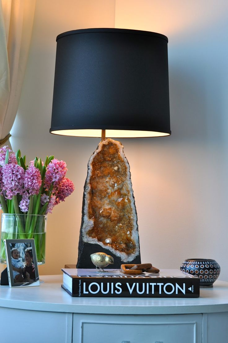 KristinKerrInteriors| custom citron geode lamp | geode + ebony base + custom figurine pipe