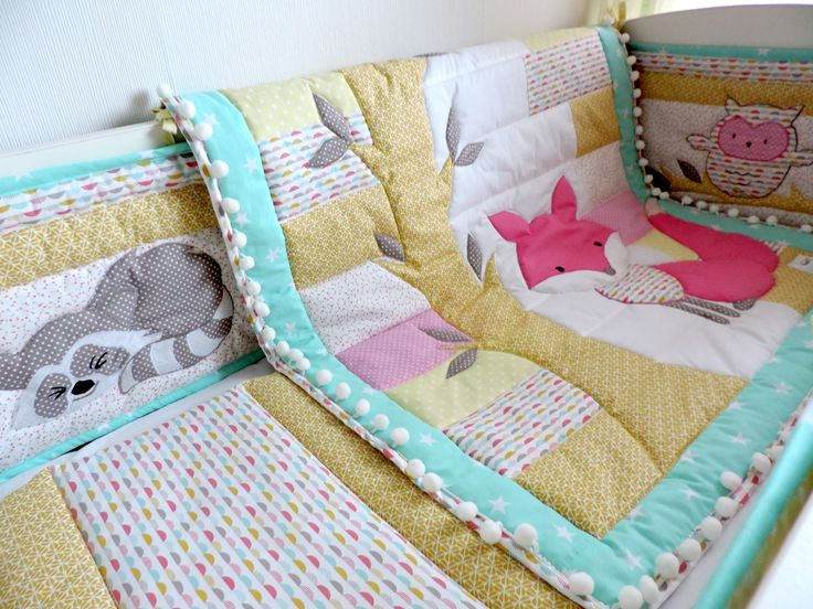 Lovely handmade nursery bedding set including baby quilt, crib bumpers in gorgeous pastel colours. See the whole collection here: https://www.etsy.com/listing/487243064/nursery-bedding-set-girl-mint-pink-crib?ref=listing-shop-header-0