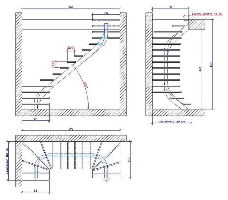 17 meilleures id es propos de escalier 2 quart tournant for Plan petit escalier en bois