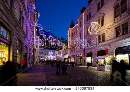 SLOVENIA, LJUBLJANA - DECEMBER, 2016: Old city town center with wonderful christmas lights and decorations