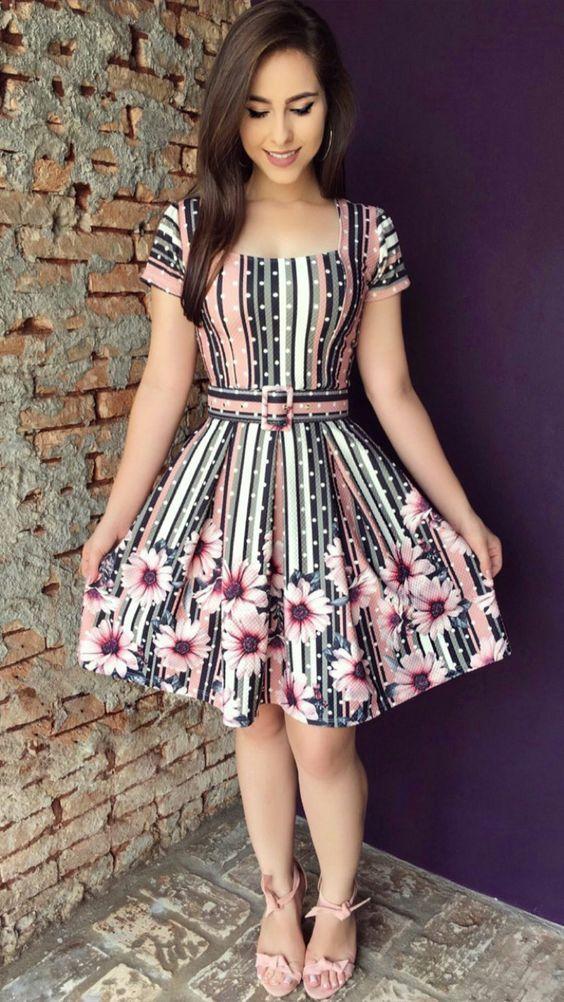 3d656c607 vestido colorido moda evangélica 2019 | Dress knee high in 2019 ...