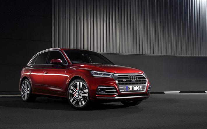 Download wallpapers 4k, Audi SQ5, 2017 cars, crossovers, red SQ5, german cars, Audi