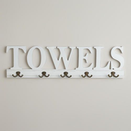 One of my favorite discoveries at WorldMarket.com: 5-Hook 'Towels' Wall Rack