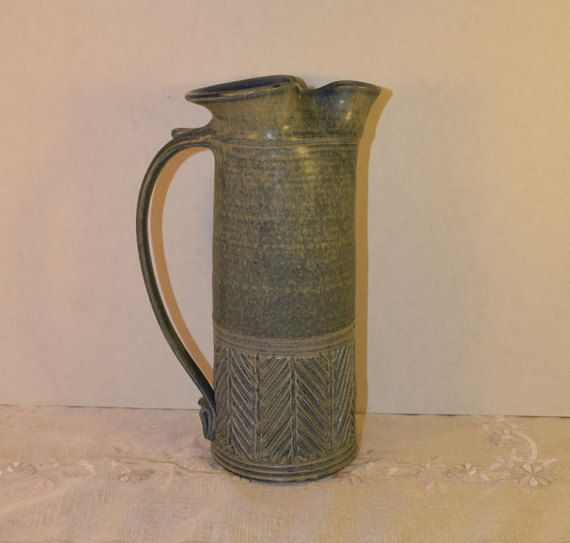 Artisan Signed Blue Pottery Pitcher by ShellysSelectSalvage