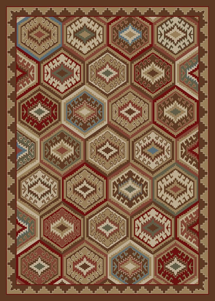 "Dean Lodge Quilt Brown Rustic Southwestern Lodge Cabin Ranch Area Rug Size: 7'10"" x 9'10"" - Dean Stair Treads"