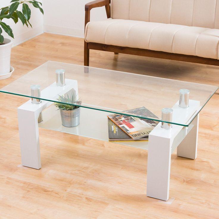 Amazon|センターテーブル 「マックス(クリアガラス)」【ホワイト色/白色】 100cm幅|ローテーブル・ちゃぶ台 オンライン通販