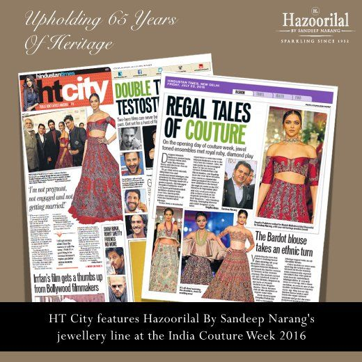 "Sandeep Narang in talks with HT City ""Regal Tales Of Couture"" as Hazoorilal By Sandeep Narang showcased its exclusive jewellery collection with Manish Malhotra #ThePersianStory line at Fashion Design Council of India's #ICW2016"