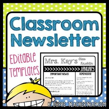 Editable Classroom Newsletter Templates! Easily create a monthly or weekly…