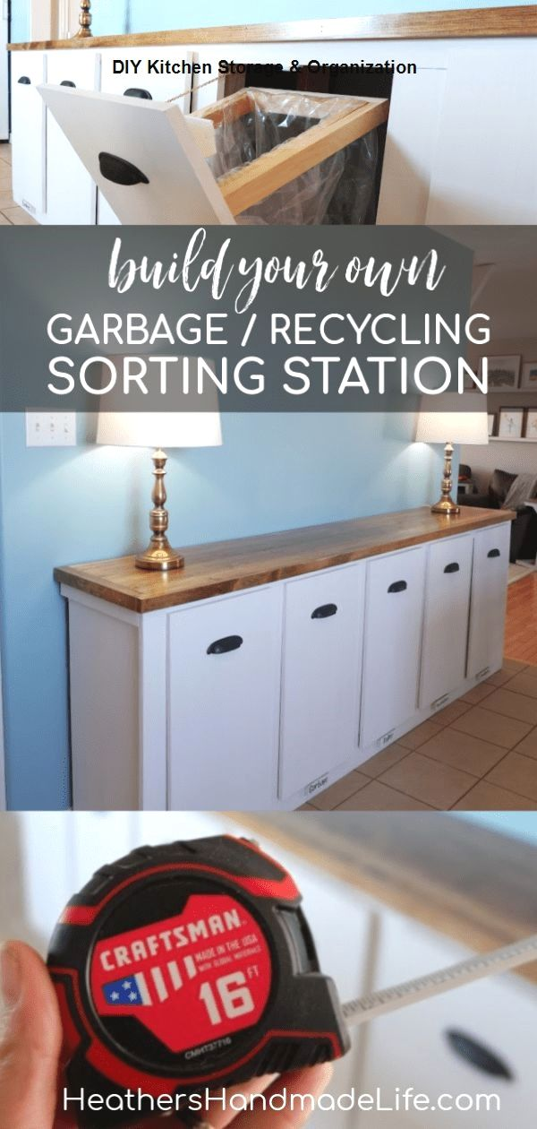 13 diy ideas for kitchen storage diy kitchenideas in 2020 recycling station recycling on kitchen organization recycling id=77257