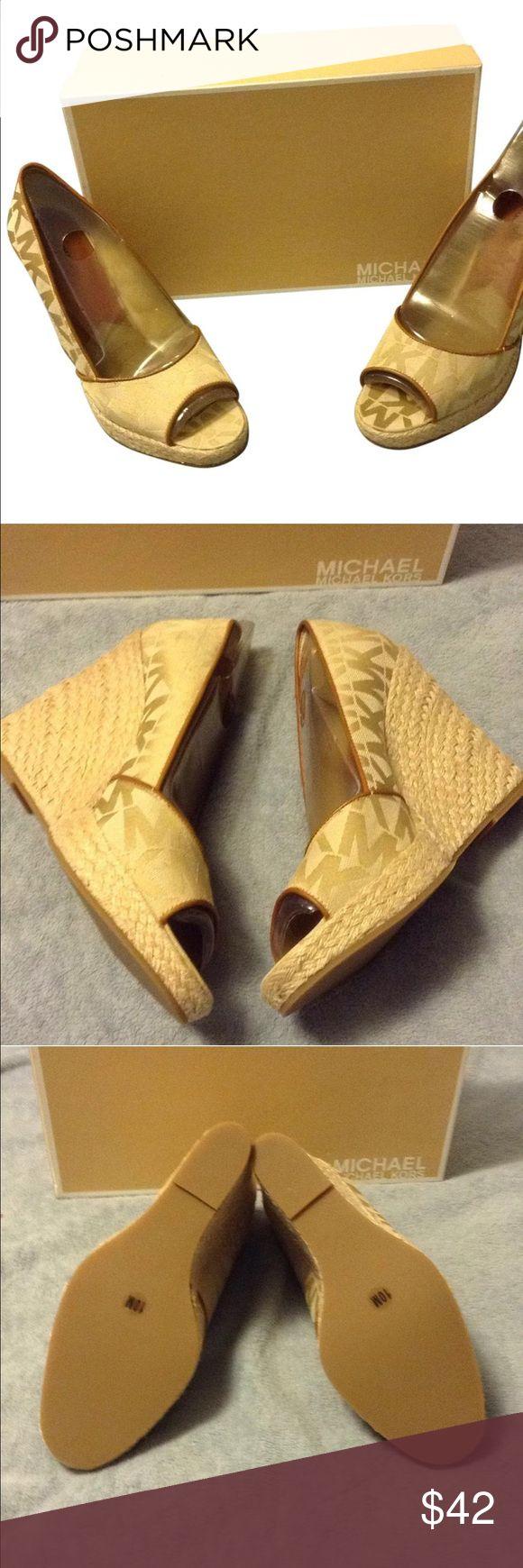 Cabana open toe camel/beige wedges Brand new Michael Kors wedges in beige with MK print. Michael Kors Shoes Wedges