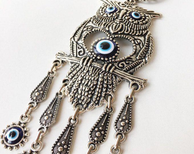Evil eye wall hanging, owl evil eye wall hanging, lucky evil eye charm, Turkish evil eye, evil eye décor, nazar boncuk, evil eye bead