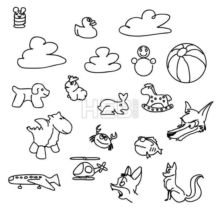 Baby game Doodles Sketched Vector Art by Hebstreits #stockimage #design