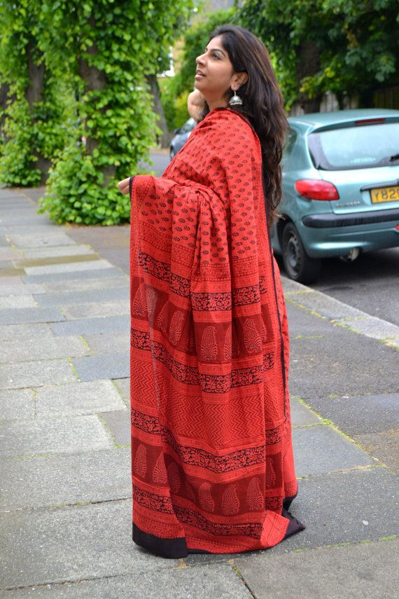 Cotton Bagru Handblock printed saree  rust by TheFarEastArtStudio