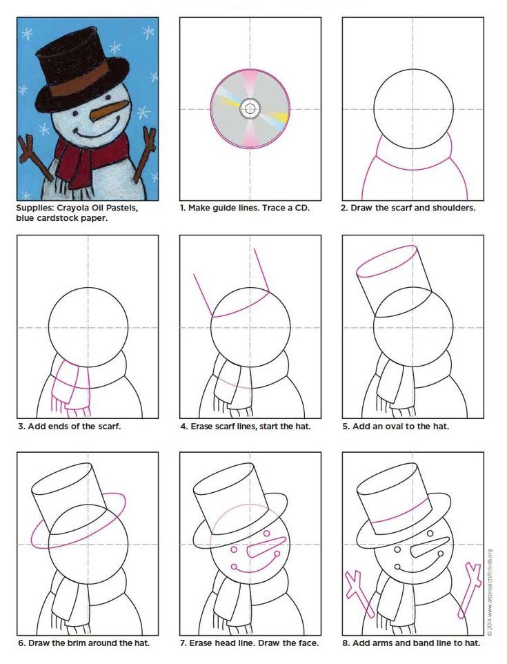 Snowman drawings don't have to be small and flat-looking. PDF tutorial available. #artprojectsforkids #howtodraw #snowman
